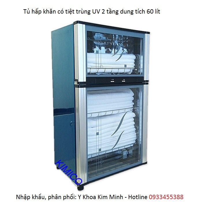 Tủ hấp khăn 2 tầng có tiệt trùng UV dung tích 60 lít - Y Khoa Kim Minh