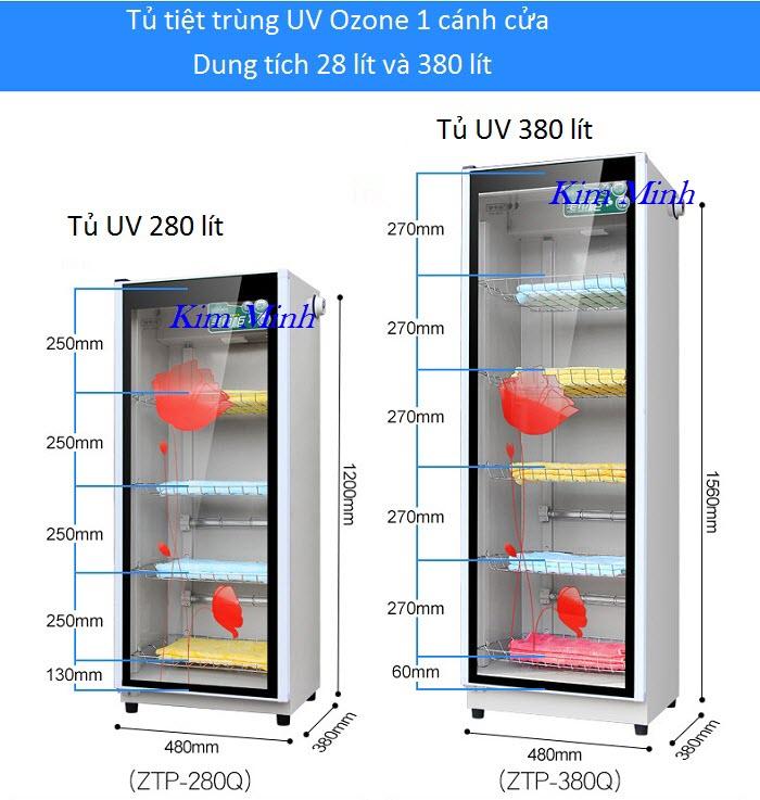 Tủ hấp khăn tiệt trùng UV Ozone 1 cánh cửa loại 280 lit và 380 lít - Y Khoa Kim Minh