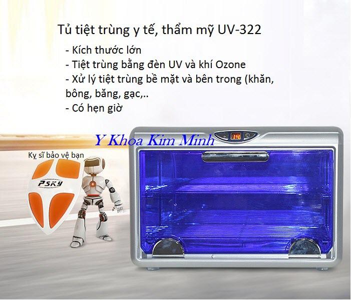 Tủ UV tiệt trùng dung tích lớn có Ozone UV-322 bán tại Tp Hồ Chí Minh - Y khoa Kim Minh