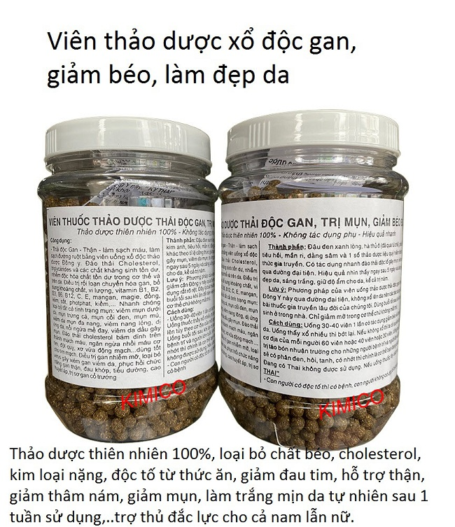 Viên thảo dược xổ độc gan giảm béo làm đẹp da - Y khoa Kim Minh
