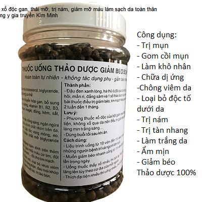 Viên uống xổ độc gan trị mụn, trị nám, làm trắng da, thảo dược thiên nhiên, Đông y gia truyền - Y khoa Kim Minh