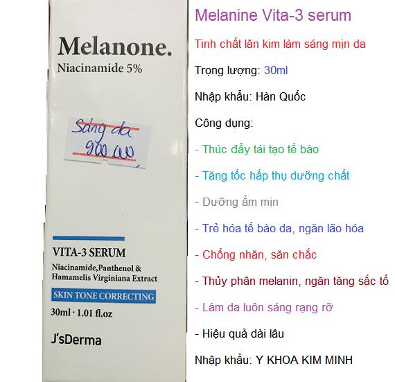 Serum lăn kim làm sáng mịn da Hàn Quốc, Melanone Vita-3 30ml - Y khoa Kim Minh 0933455388