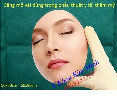 Xăng mổ phẫu thuật có lỗ bằng vải xanh lá đậm bán tại Tp.HCM - Y Khoa Kim Minh