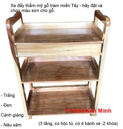 Xe đẩy gổ 3 tầng có học tủ gỗ tràm thật Miền Tây - Y Khoa Kim Minh