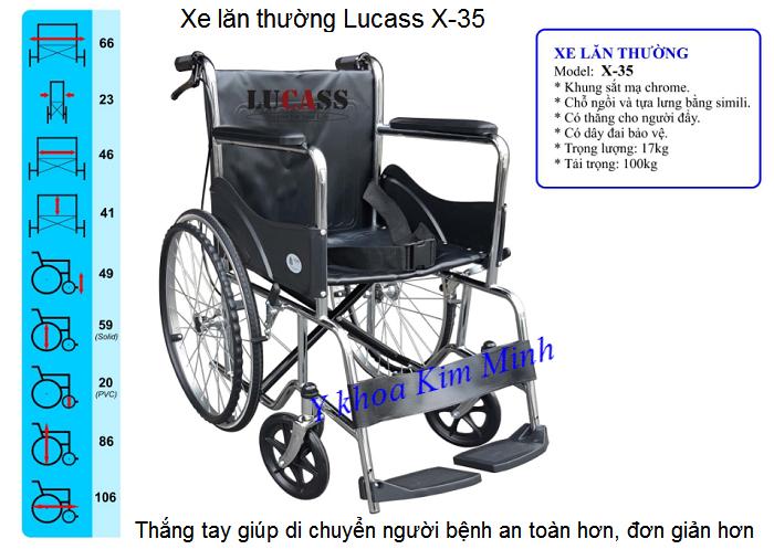 Xe lăn thường có thắng tay hãng LUCASS mã X-35 bán tại Tp Hồ Chí Minh - Y khoa Kim Minh