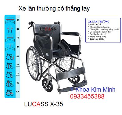 Xe lăn y tế có thắng tay hãn Lucas X-35 - Y khoa Kim Minh