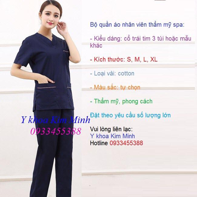 Áo quần nhan viên thẩm mỹ spa may o dau tai Tp Ho Chi Minh - Y khoa Kim Minh
