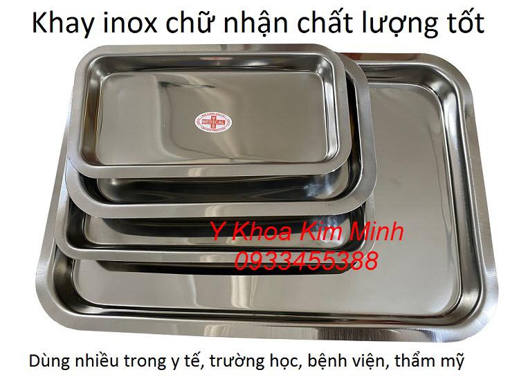 Khay inox chữ nhật y tế bán giá sỉ bán tại Y Khoa Kim Minh