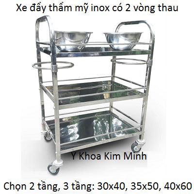 Xe day tham my inox 2 tang co vong thau san xuat tai Y Khoa Kim Minh